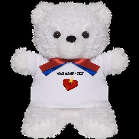 Custom Red Heart Candle Teddy Bear