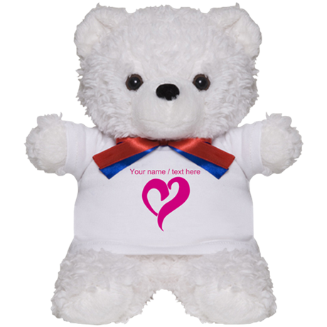 Personalized Pink Heart Teddy Bear