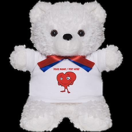 Personalized Cartoon Red Heart Teddy Bear