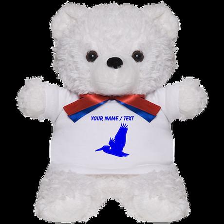 Custom Blue Pelican Silhouette Teddy Bear