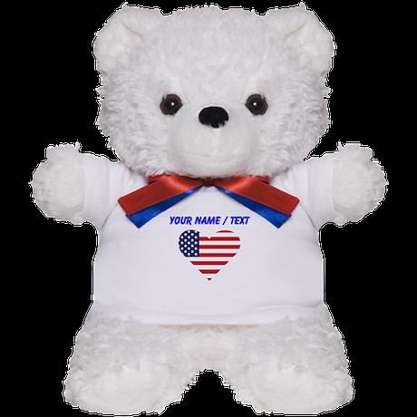 Custom American Flag Heart Teddy Bear