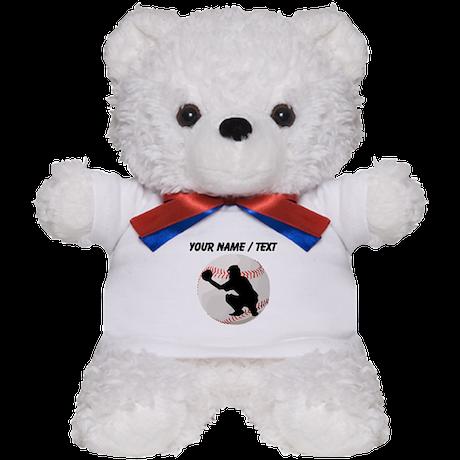 Custom Baseball Catcher Silhouette Teddy Bear