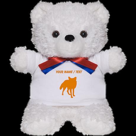 Custom Orange Fox Silhouette Teddy Bear
