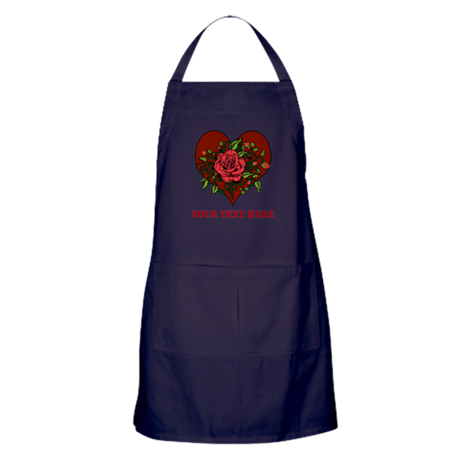 Red Roses, Heart and Text. Apron (dark)