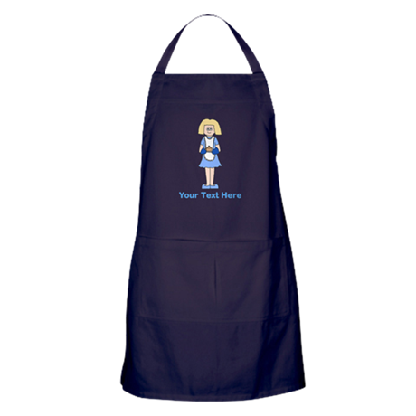 Lady with Dish. Blue Text. Apron (dark)