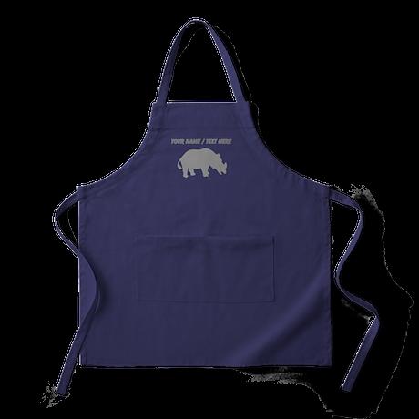 Personalized Grey Rhino Silhouette Apron (dark)