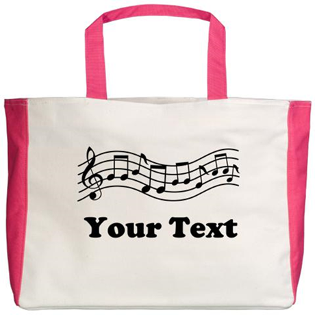 Music Notes Personalized Beach Tote