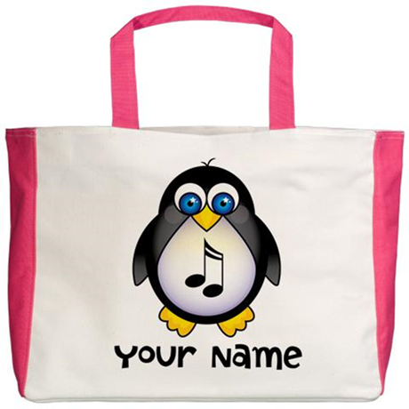 Personalized Music Penguin Beach Tote