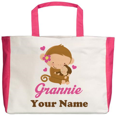 Personalized Grannie Monkeys Beach Tote