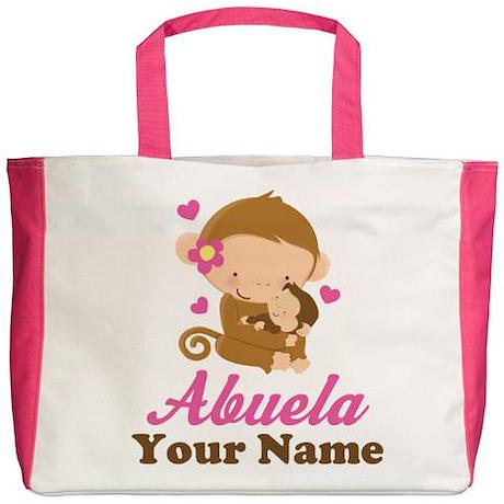 Personalized Abuela Monkeys Beach Tote