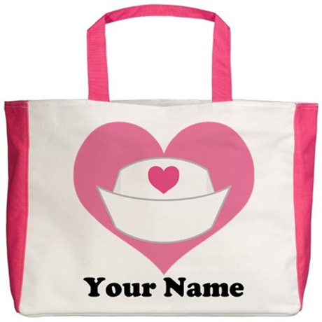 Personalized Nurse Heart Beach Tote