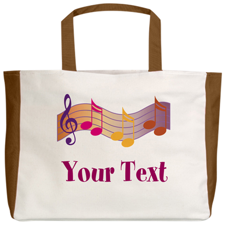 Personalized Music Staff Gift Beach Tote