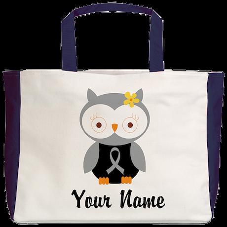 Personalized Gray Ribbon Owl Beach Tote
