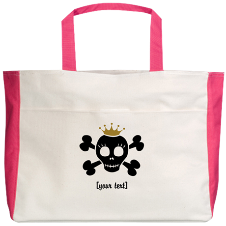 [Your text] Princess Skull Beach Tote