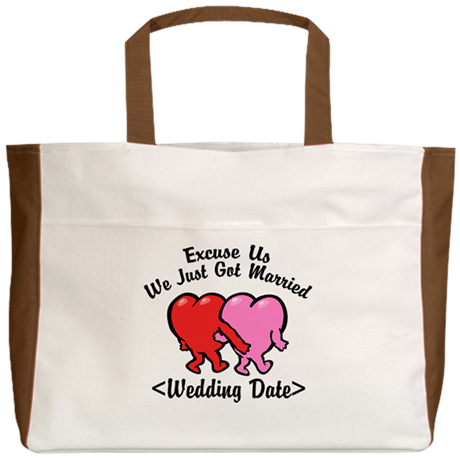 Funny Just Married (Add Wedding Date) Beach Tote