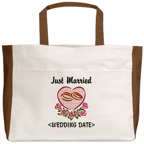 Just Married (Add Your Wedding Date) Beach Tote
