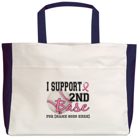 Second 2nd Base Breast Cancer Beach Tote