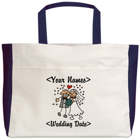 Just Married (Add Names & Wedding Date) Beach Tote