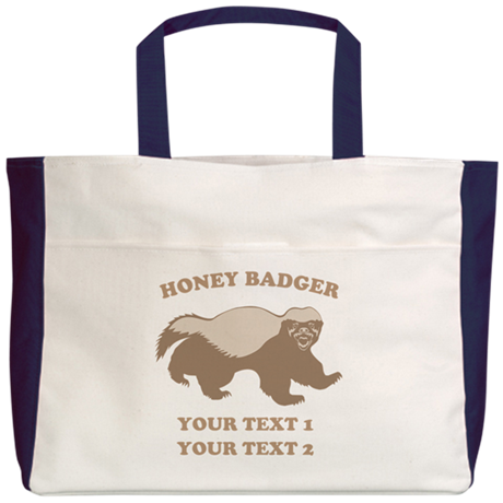 Personalize Honey Badger Beach Tote