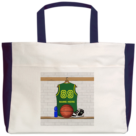 Personalized Basketball Green Beach Tote
