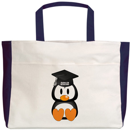 Custom Graduation Penguin Beach Tote