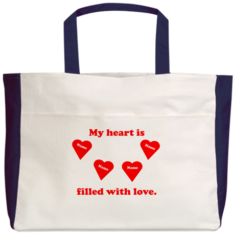 Personalized My Heart Filled Beach Tote