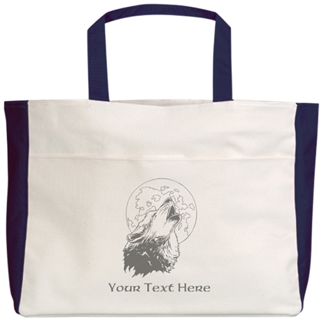 Wolf and Moon. Custom Text. Beach Tote