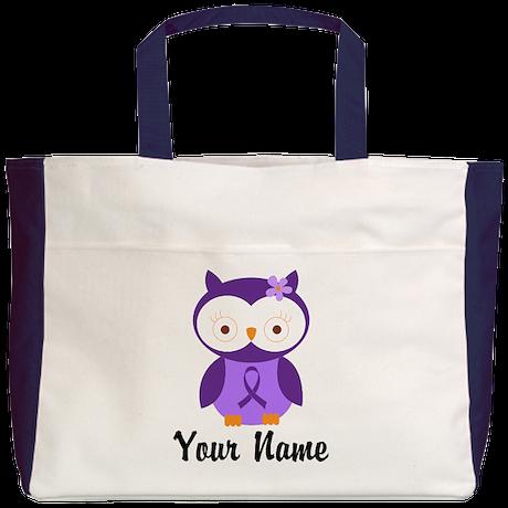 Personalized Purple Ribbon Owl Beach Tote