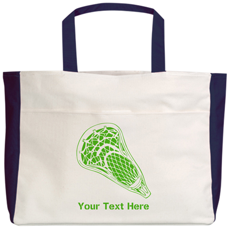 Lacrosse Crosse. Green Text. Beach Tote