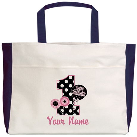 1st Birthday Pink and Black D Beach Tote