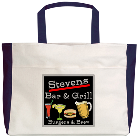 Personalized Bar and Grill Beach Tote