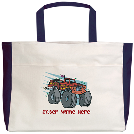 Personalized Monster Truck Beach Tote