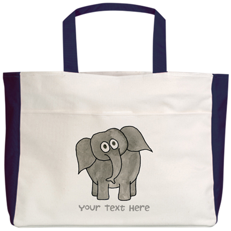Elephant. Custom Text. Beach Tote