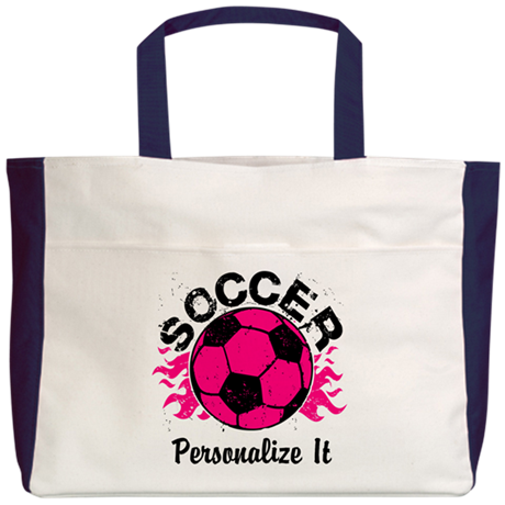 Personalized Soccer Flames Beach Tote