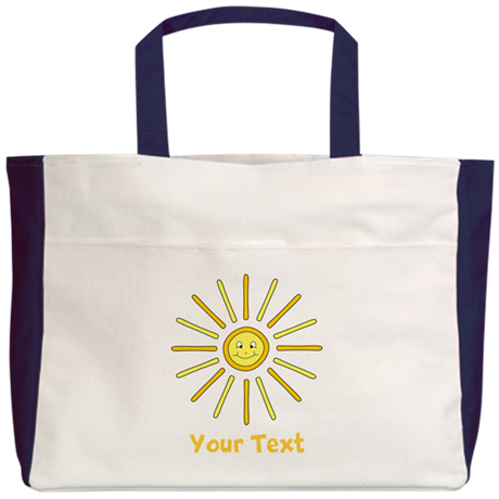 Happy Summer Sun and Text. Beach Tote