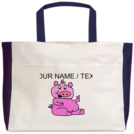 Custom Funny Pink Pig Beach Tote