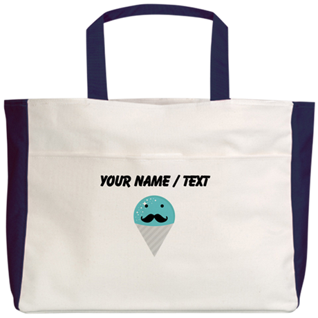 Custom Blue Snow Cone Mustache Beach Tote