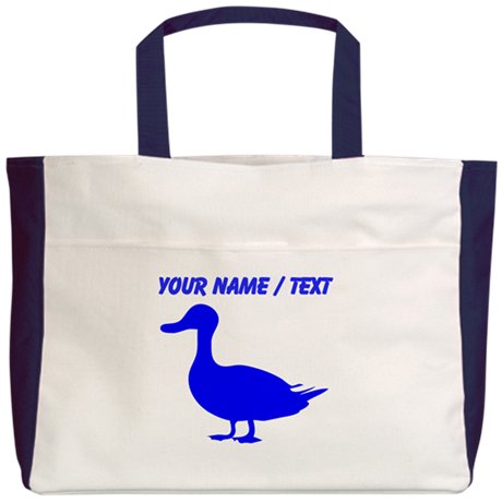 Custom Blue Duck Silhouette Beach Tote