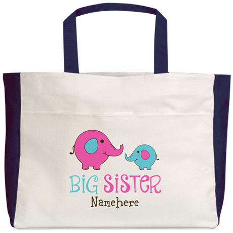 Personalized Big Sister Elephant Beach Tote