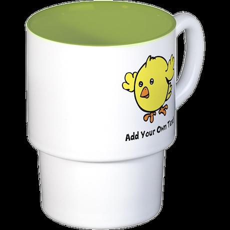 Cute Chick. Black Text Stackable Mug