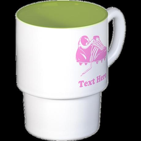 Pink Soccer Boot and Text. Stackable Mug Set (4 mu