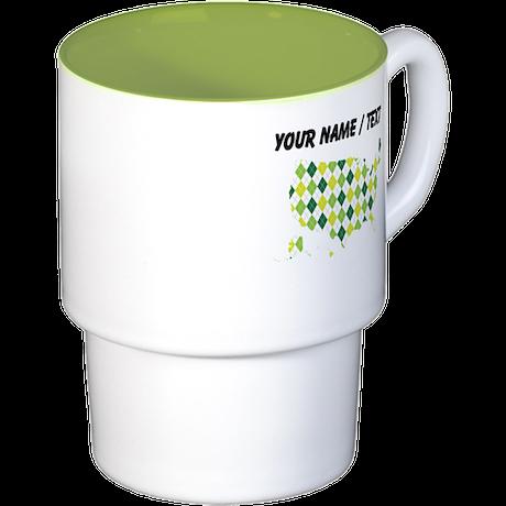 Custom USA Silhouette Green Argyle Pattern Coffee