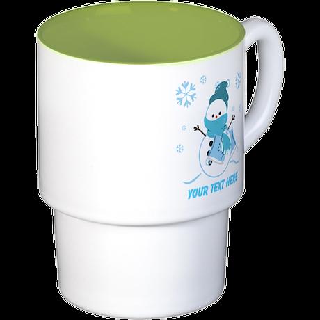 Cute Personalized Snowman Stackable Mug Set (4 mug