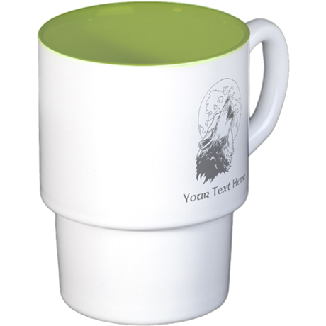 Wolf and Moon. Custom Text. Stackable Mug Set (4 m