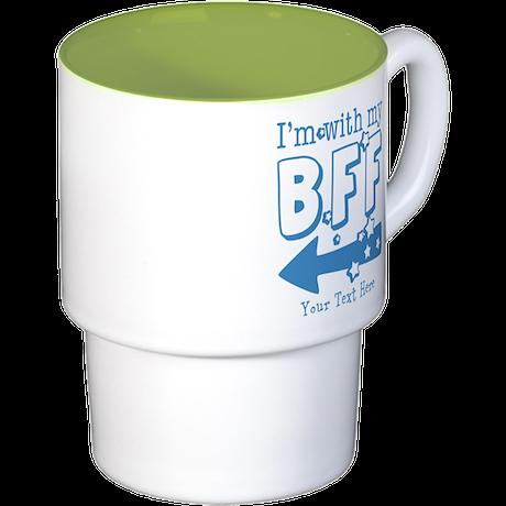 CUSTOM TEXT Im With My BFF Stackable Mug Set (4 mu