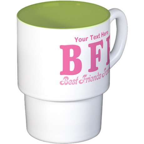 CUSTOM TEXT Best Friends Forever Stackable Mug Set