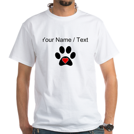 Custom dog paw print heart t shirt by fungiftsfordogowners for Custom pet t shirts