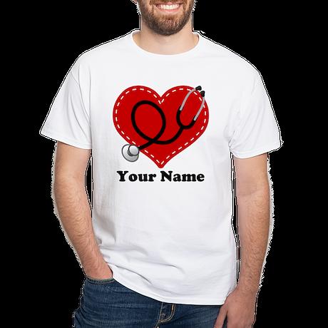 Personalized Nurse Heart White T-Shirt