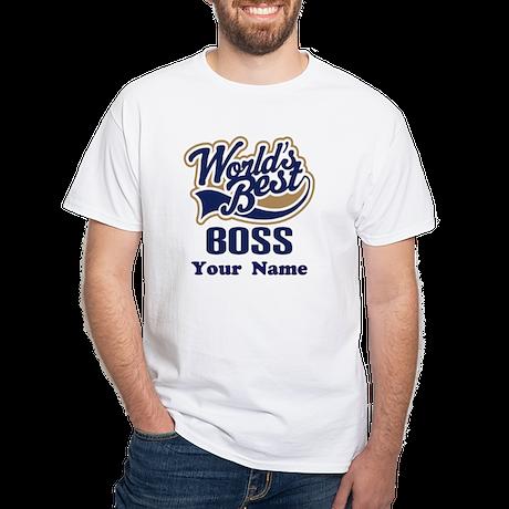 Personalized Boss White T-Shirt
