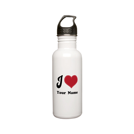 Personalized Red Heart Stainless Water Bottle 0.6L